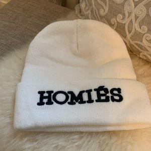 Homies White Beanie Hat New not worn